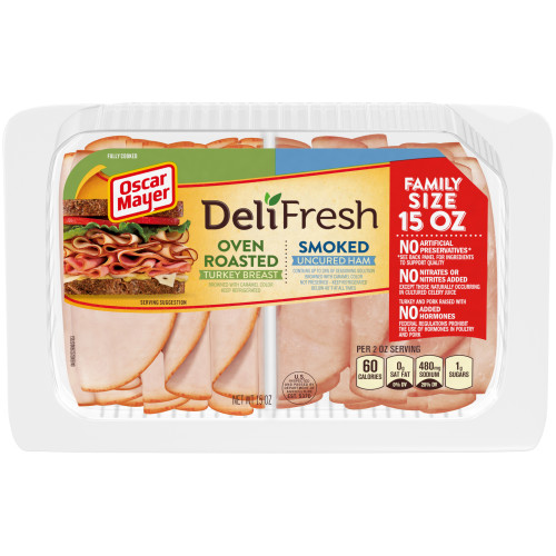 Oscar Mayer Deli Fresh Oven Roasted Turkey Breast & Smoked Ham Combo 15 oz Tray