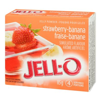 Jell-O Strawberry Banana Jelly Powder, Gelatin Mix