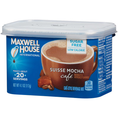 Maxwell House International Suisse Mocha Cafe Sugar Free Beverage Mix, 4 Count, 16.4 Ounce