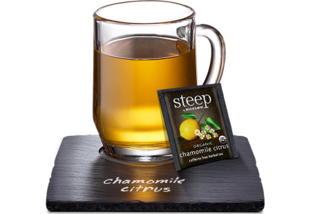 Cup of steep by bigelow organic chamomile citrus herbal tea