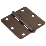 "Hardware Essentials 1/4"" Round Corner Pewter Door Hinges (3-1/2"")"