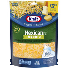 Kraft Mexican Style Four Cheese Shredded Natural Cheese 8 oz Pouch