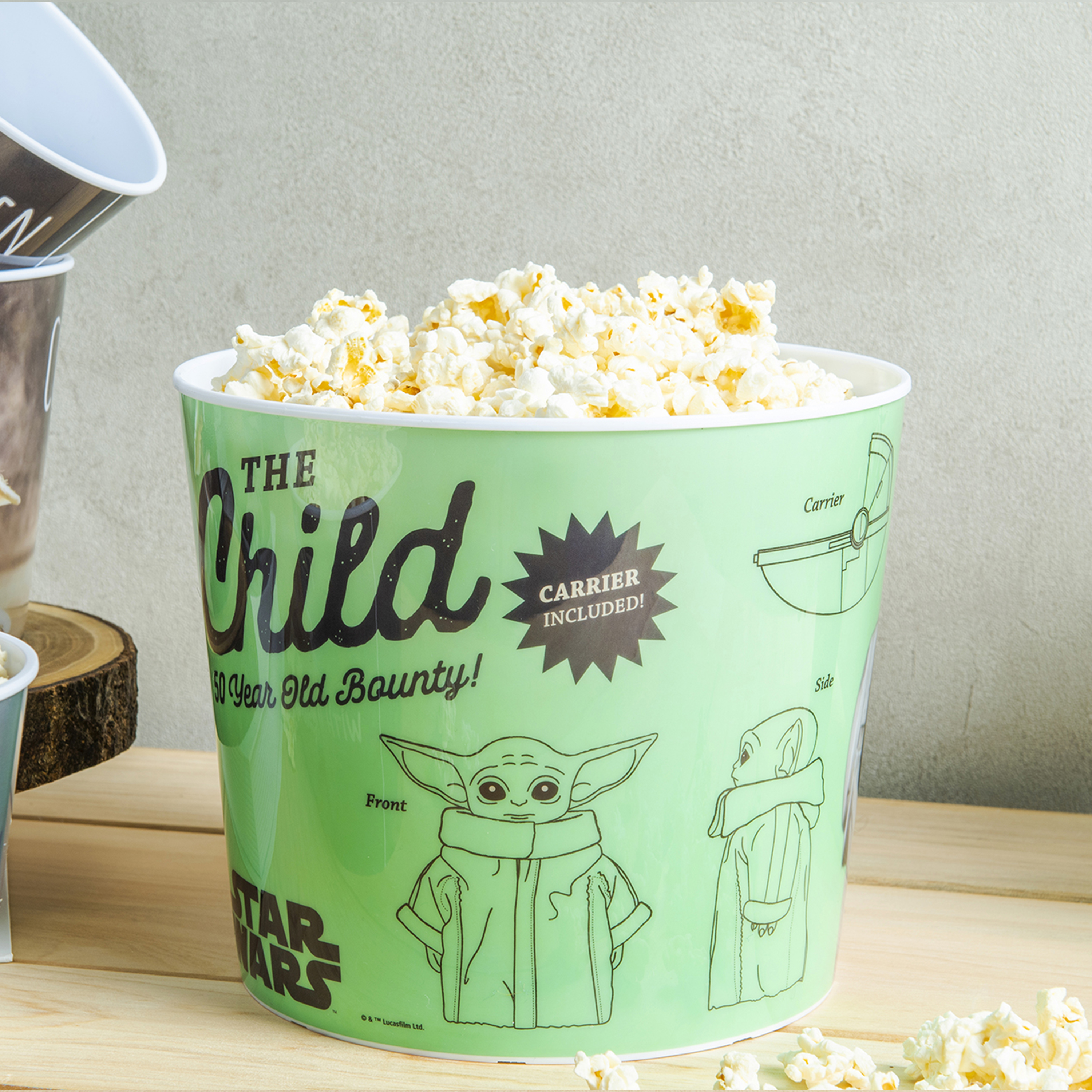 Star Wars: The Mandalorian Plastic Popcorn Container and Bowls, The Child (Baby Yoda), 5-piece set slideshow image 3