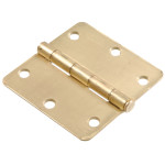 "Hardware Essentials 1/4"" Round Corner Brass Door Hinges (3-1/2"")"