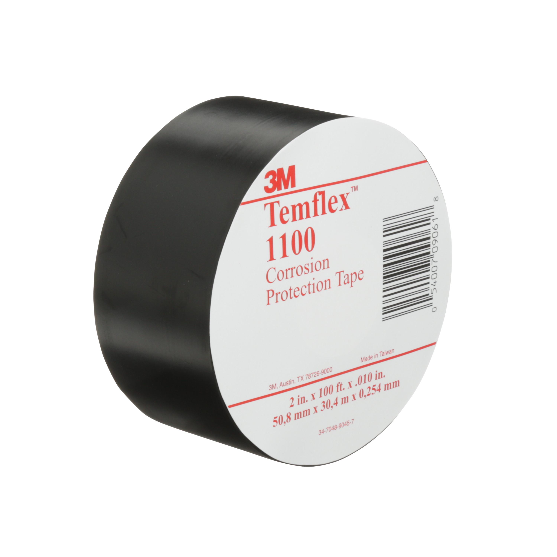 3M™ Temflex™ Vinyl Corrosion Protection Tape 1100, 2 in x 100 ft, Unprinted, Black, 24 rolls/Case