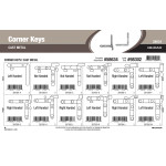 "Cast-metal corner Keys Assortment (1/10"" thru 1/2"" Width)"