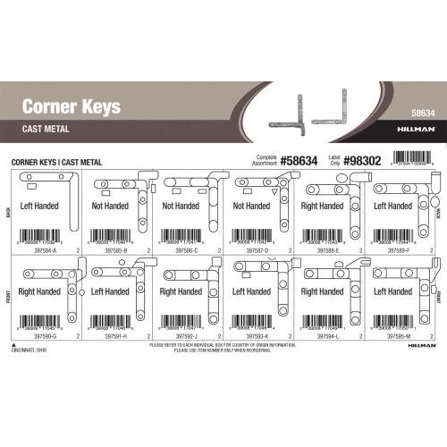 Cast-metal corner Keys Assortment (1/10