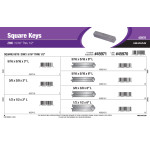 "Zinc Long Square Keys Assortment (5/16"" thru 1/2"")"