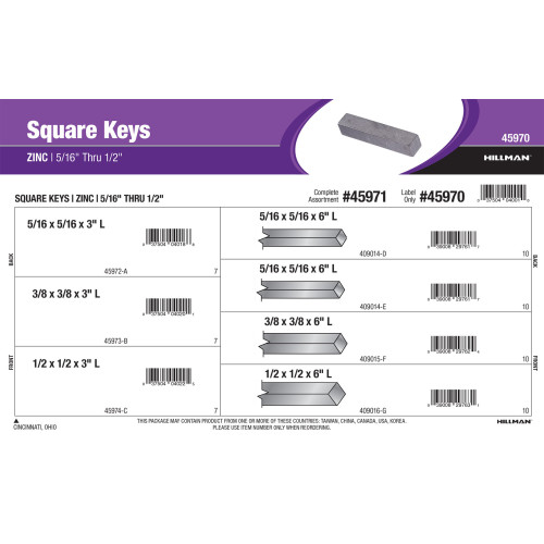 Zinc Long Square Keys Assortment (5/16