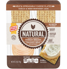 Oscar Mayer Natural Turkey Breast, Crackers & Spreadable Garlic & Herb Monterey Jack Cheese Plate, 2.8 oz Tray