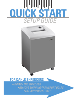 Dahle Professional Shredder QuickStart Guide