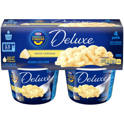 Kraft Macaroni & Cheese Deluxe, White Cheddar Cups 4 Pack, 9.56 Ounce
