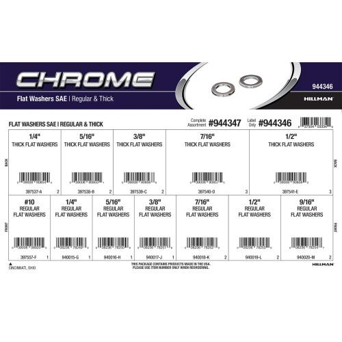 Chrome SAE Regular & Thick Flat Washers Assortment
