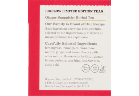 Ingredient panel of Ginger Snappish Herbal Tea box
