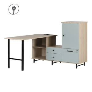 Zelia - L-Shaped Desk with Built In Power Bar