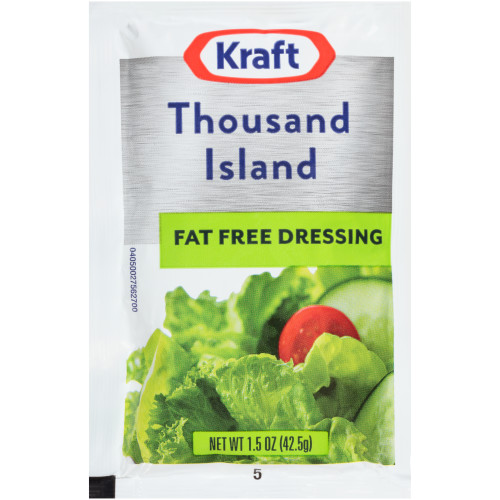 KRAFT Single Serve Fat-Free Thousand Island Salad Dressing, 1.5 oz. Packets (Pack of 60)