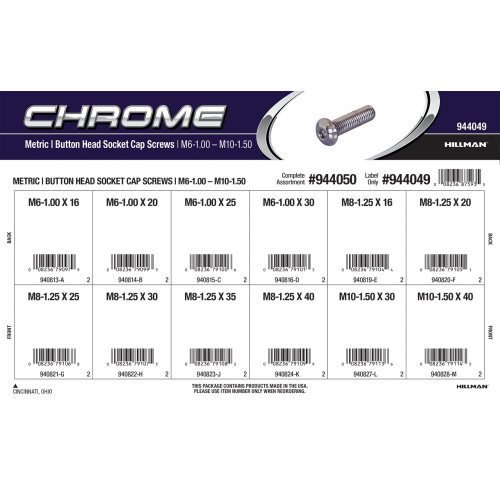 Chrome Metric Button-Head Socket Cap Screws Assortment (M6-1.00 thru M10-1.50 Thread)