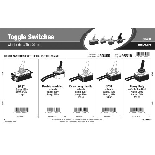 Toggle Switches Assortment (with Leads)