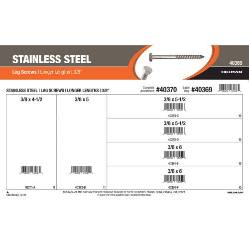 Stainless Steel Longer-Length Lag Screws Assortment (3/8