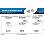 "Gray Computer Desk Grommets Assortment (1-1/2"" thru 2-1/2"" Diameters)"