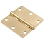 """Hardware Essentials 1/4"""" Round Corner Satin Brass Door Hinges (3-1/2"""")"""