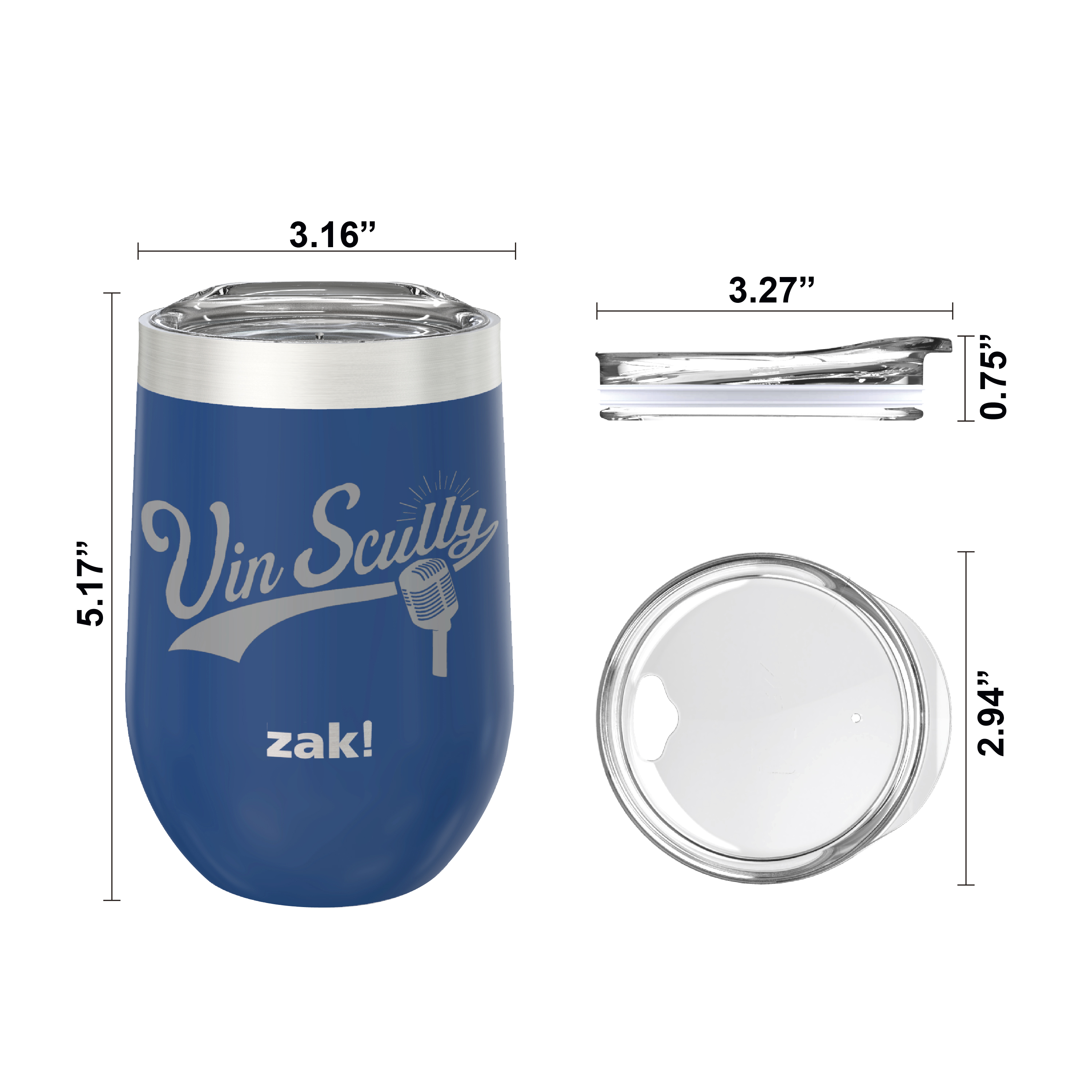 Zak Hydration 11.5 ounce Insulated Stainless Steel Tumbler, Vin Scully, 2-piece set slideshow image 7