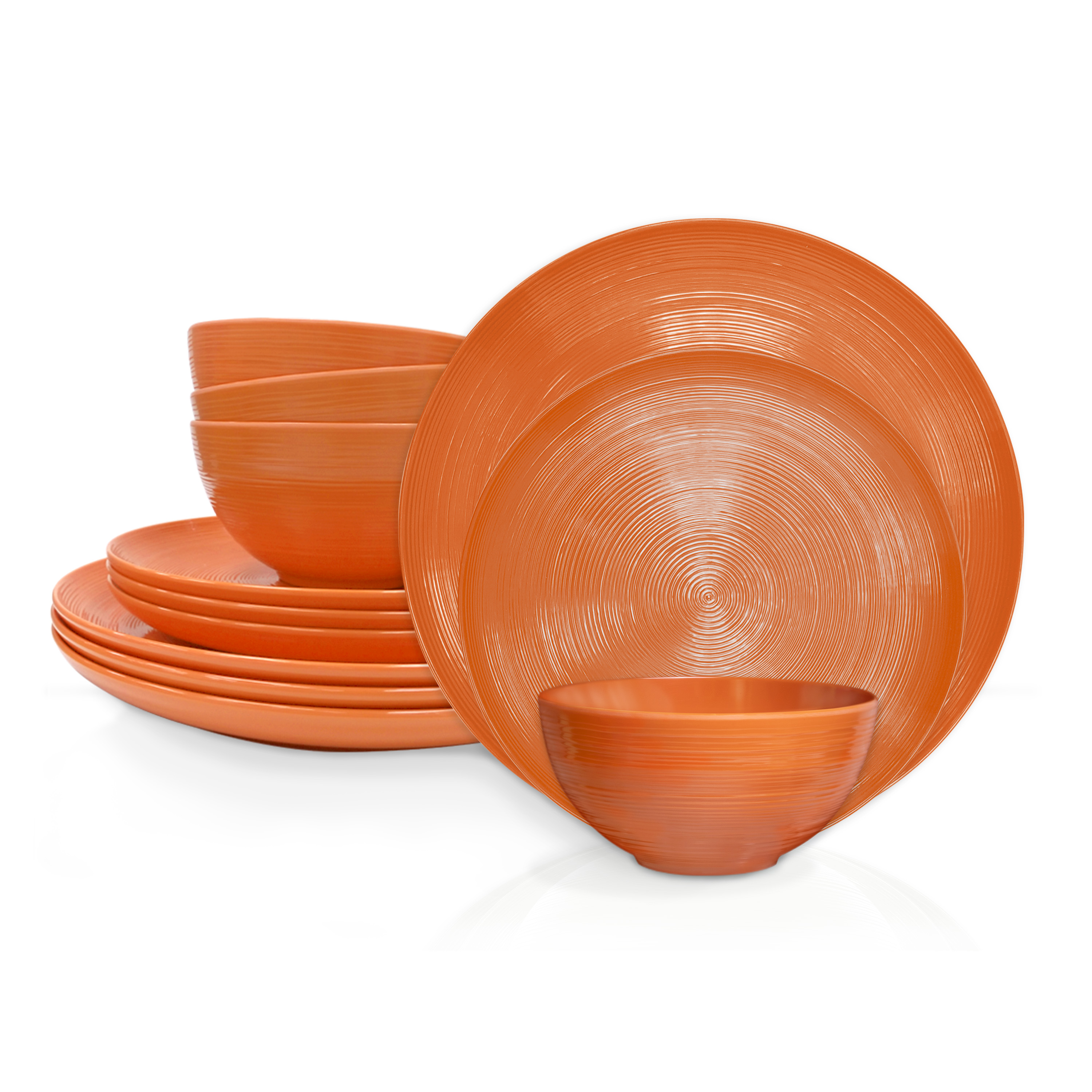 American Conventional Plate & Bowl Sets, Orange, 12-piece set slideshow image 2