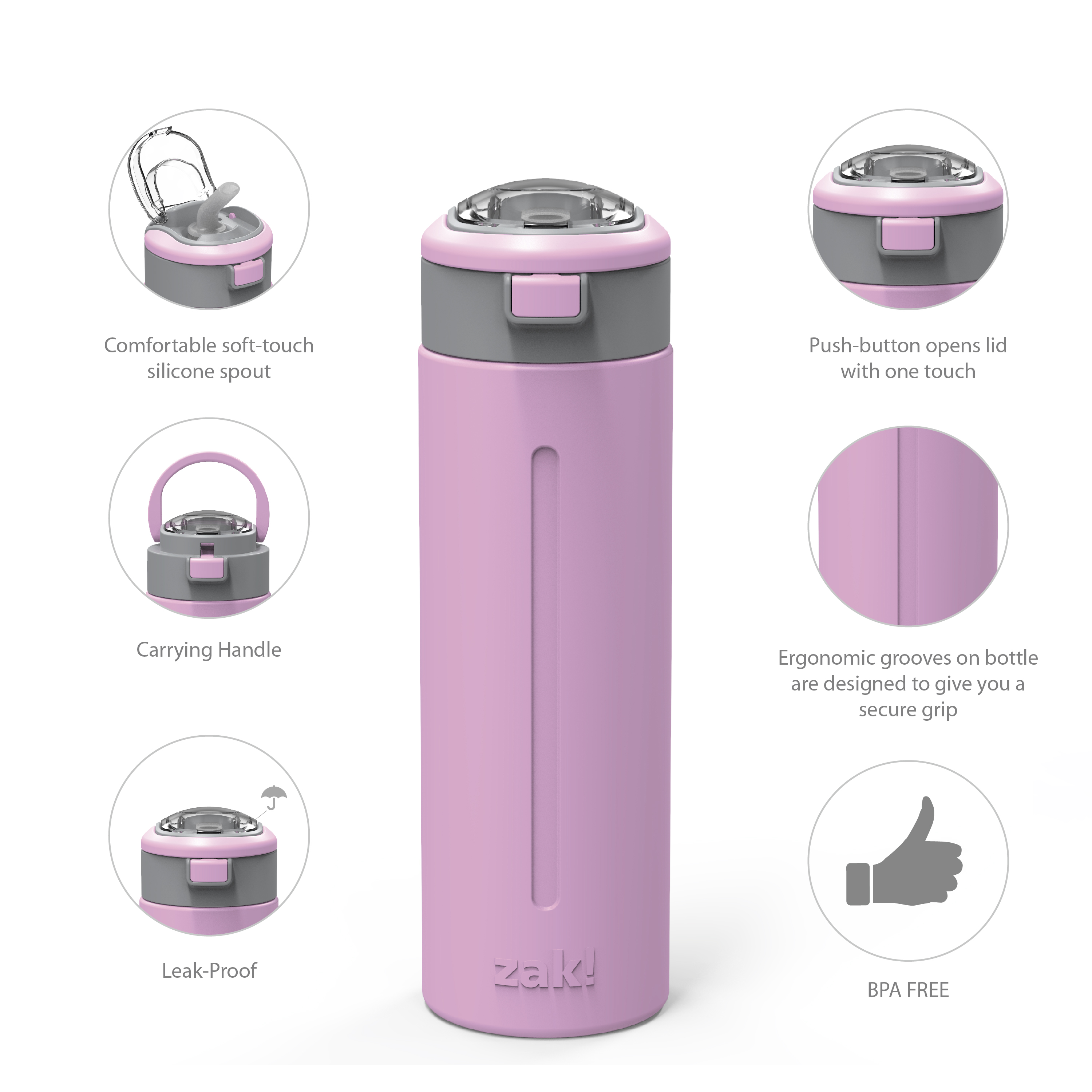 Genesis Vaccum Insulated Stainless Steel Water Bottle, Lilac slideshow image 2