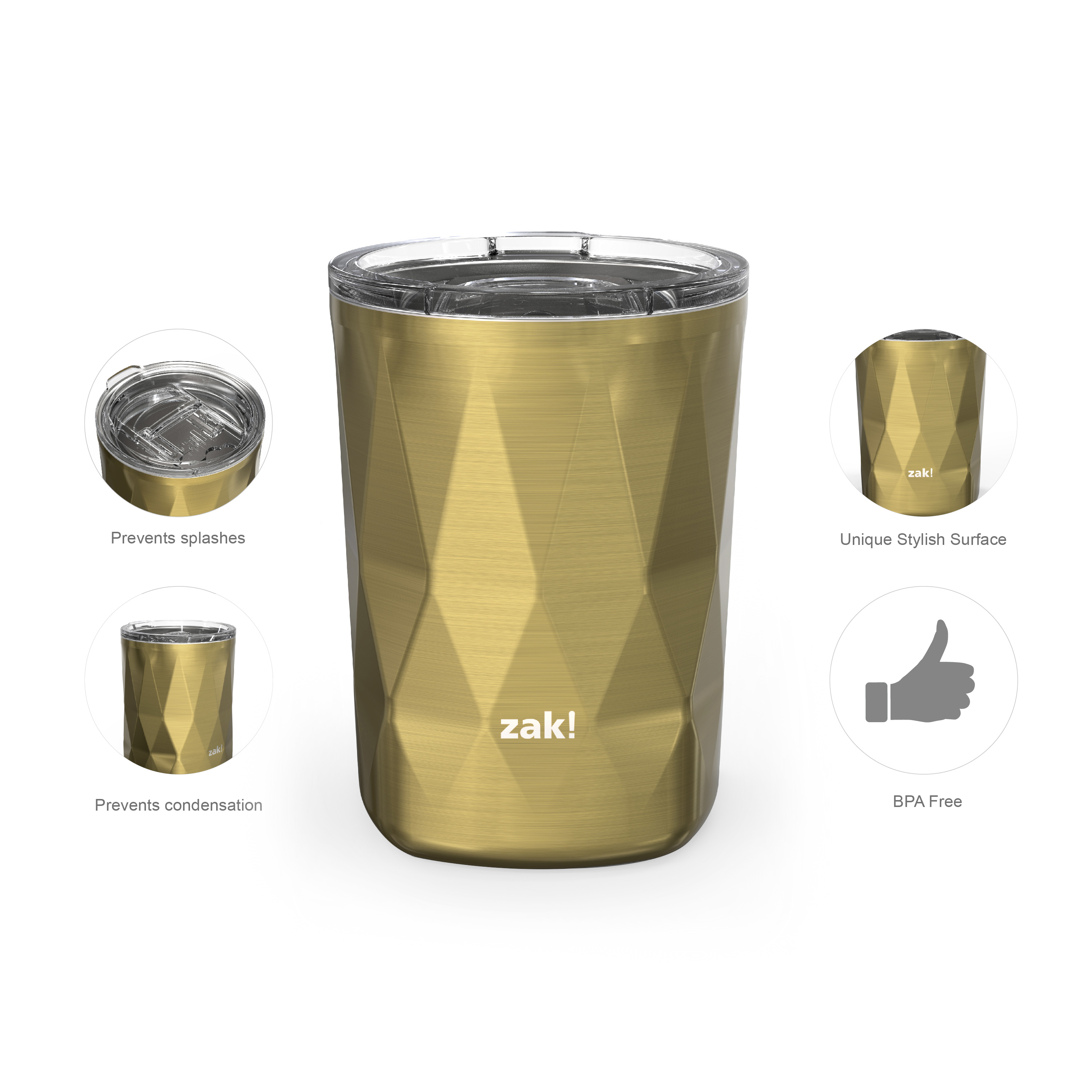 Fractal 13 ounce Vacuum Insulated Stainless Steel Tumbler, Light Gold slideshow image 3
