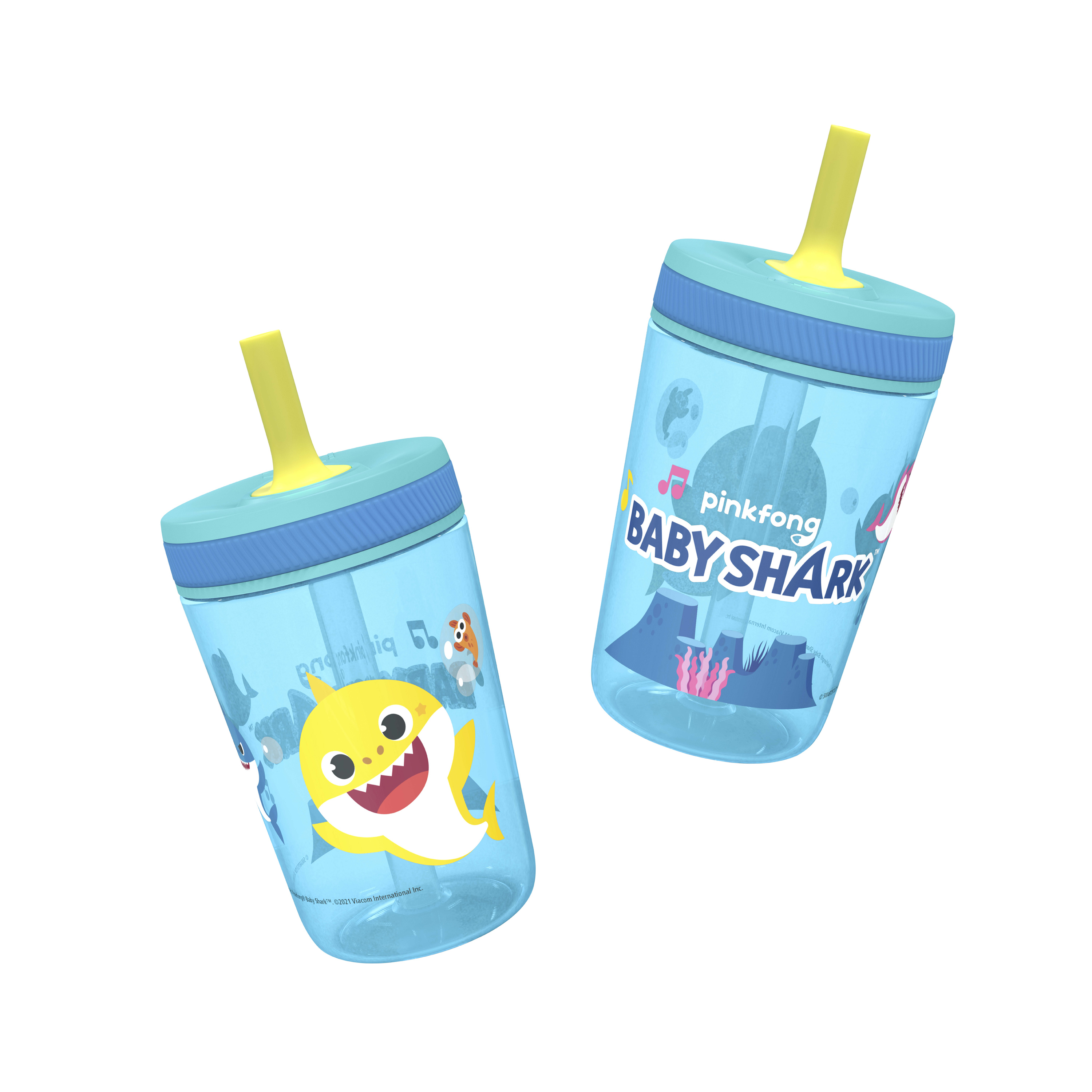 Pinkfong 15  ounce Plastic Tumbler with Lid and Straw, Baby Shark, 2-piece set slideshow image 4