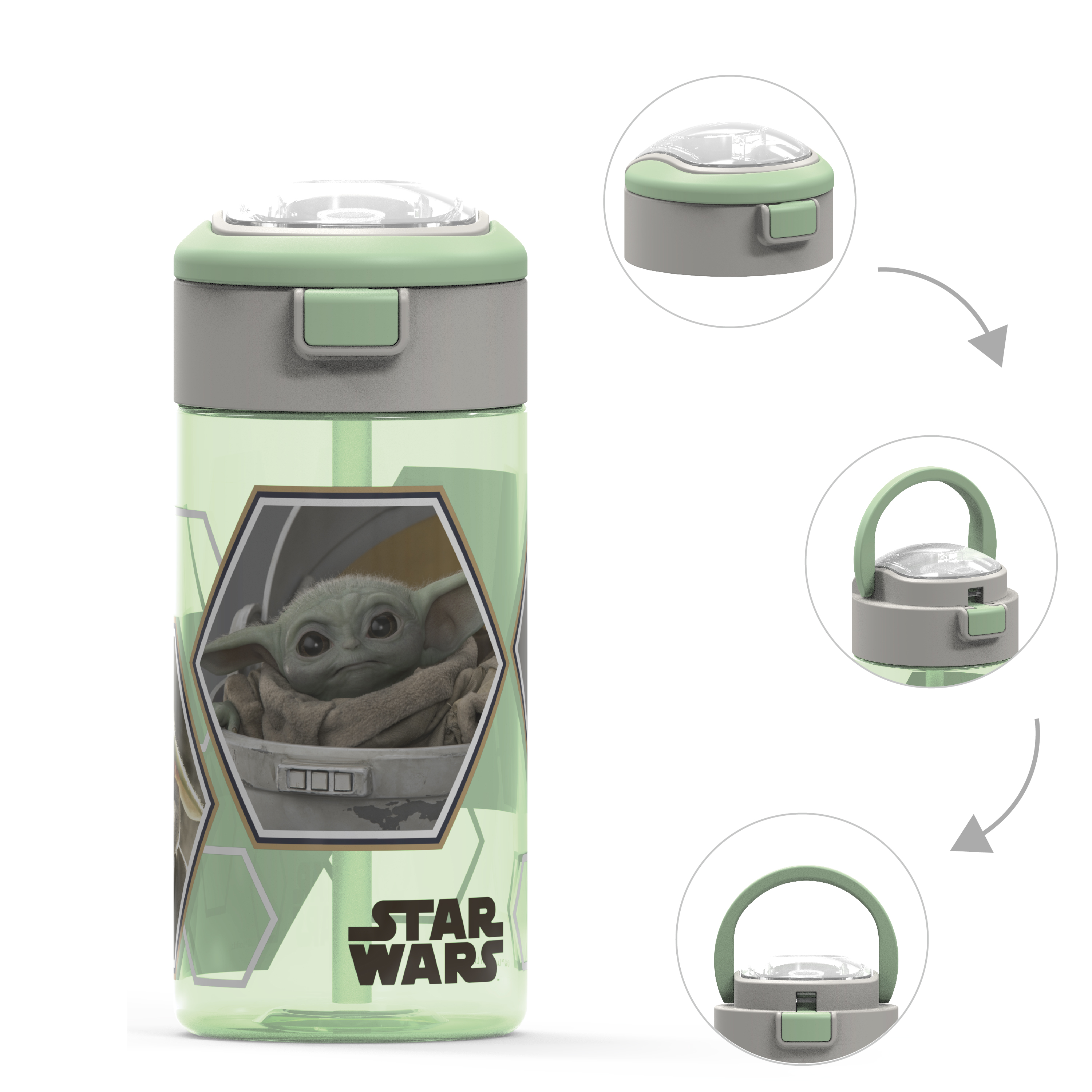 Star Wars: The Mandalorian 18 ounce Reusable Water Bottle with Straw, The Mandalorian slideshow image 1