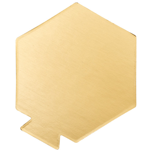 "3.5"" Hexagon Black/Gold Reversible Waxed Corrugated Cake Board"