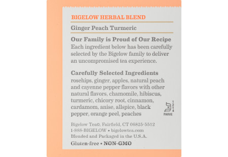 Ingredient panel of Ginger Peach Turmeric Herbal Tea box
