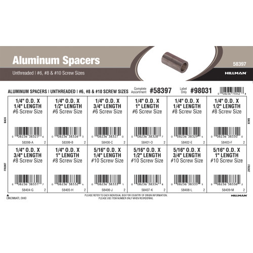 Unthreaded Aluminum Spacers Assortment (#6, #8 & #10 Screw Sizes)