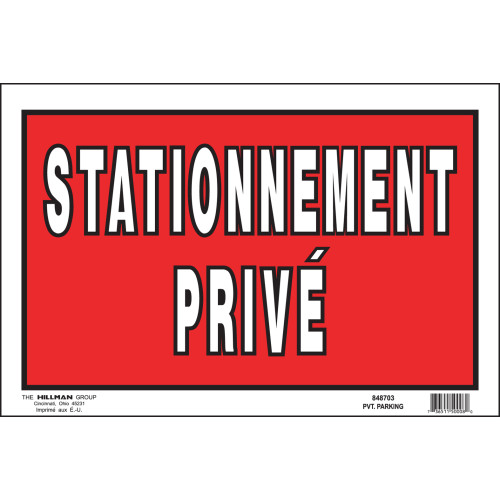 French Private Property Sign Red and White (8
