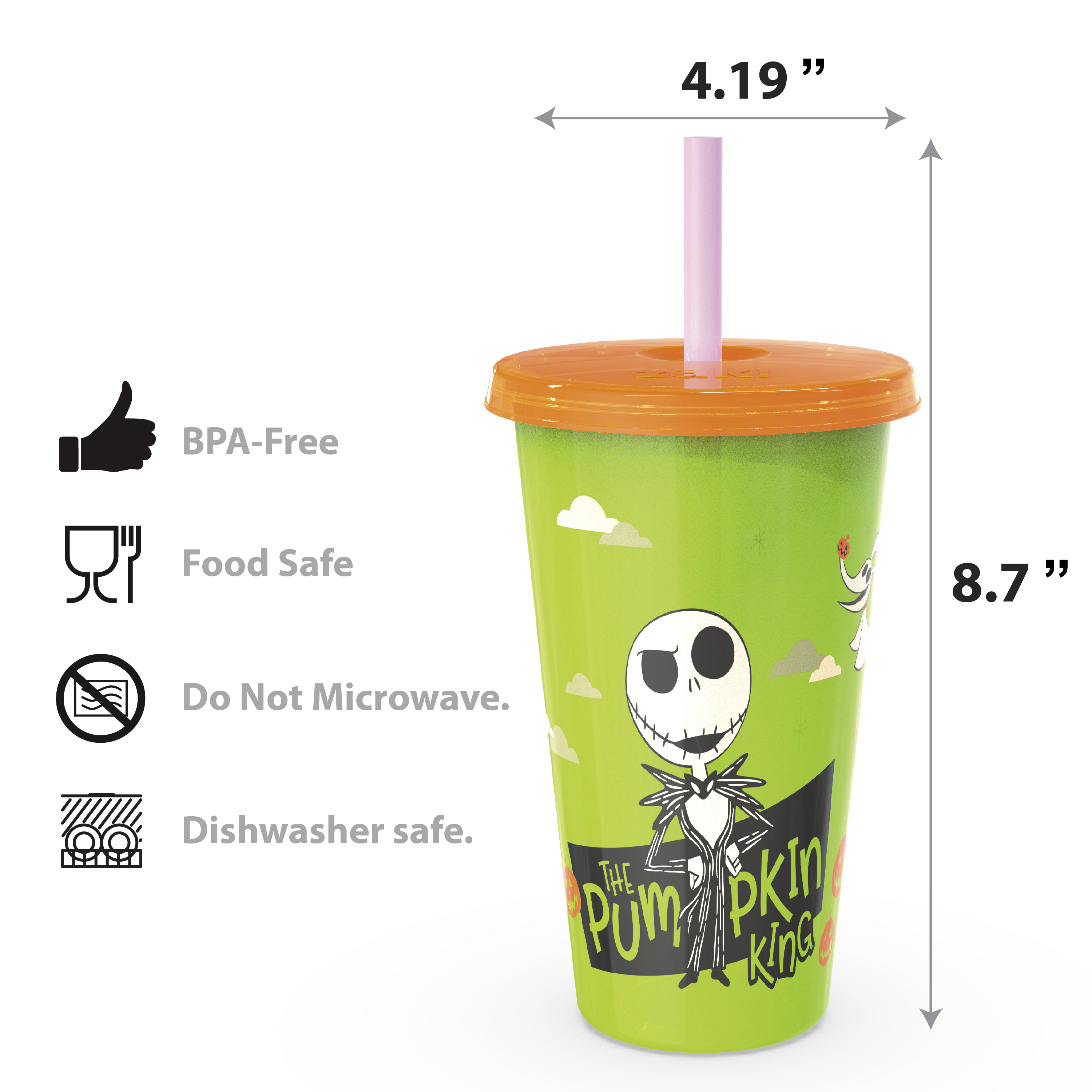 The Nightmare Before Christmas 24 ounce Reusable Plastic Kids Tumbler, Jack Skellington, Oogie Boogie & Zero, 4-piece set slideshow image 3