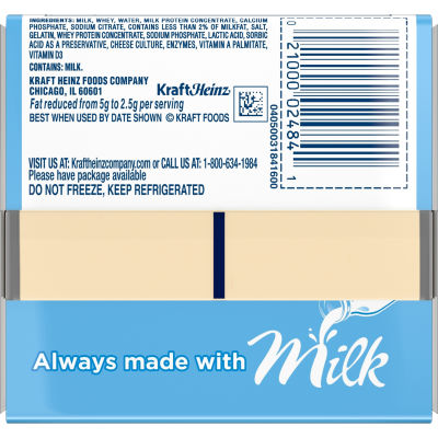 Kraft Singles 2% Milk Reduced Fat White American Cheese Slices, 10.7 oz (16 slices)