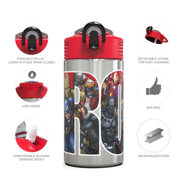 Marvel Comics 15.5 ounce Water Bottle, Black Panther, Captain America, Spider-Man & The Hulk slideshow image 4