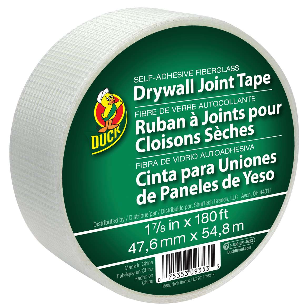 Duck® Brand Self-Adhesive Fiberglass Drywall Joint Tape, 1.88 in. x 180 ft. Image