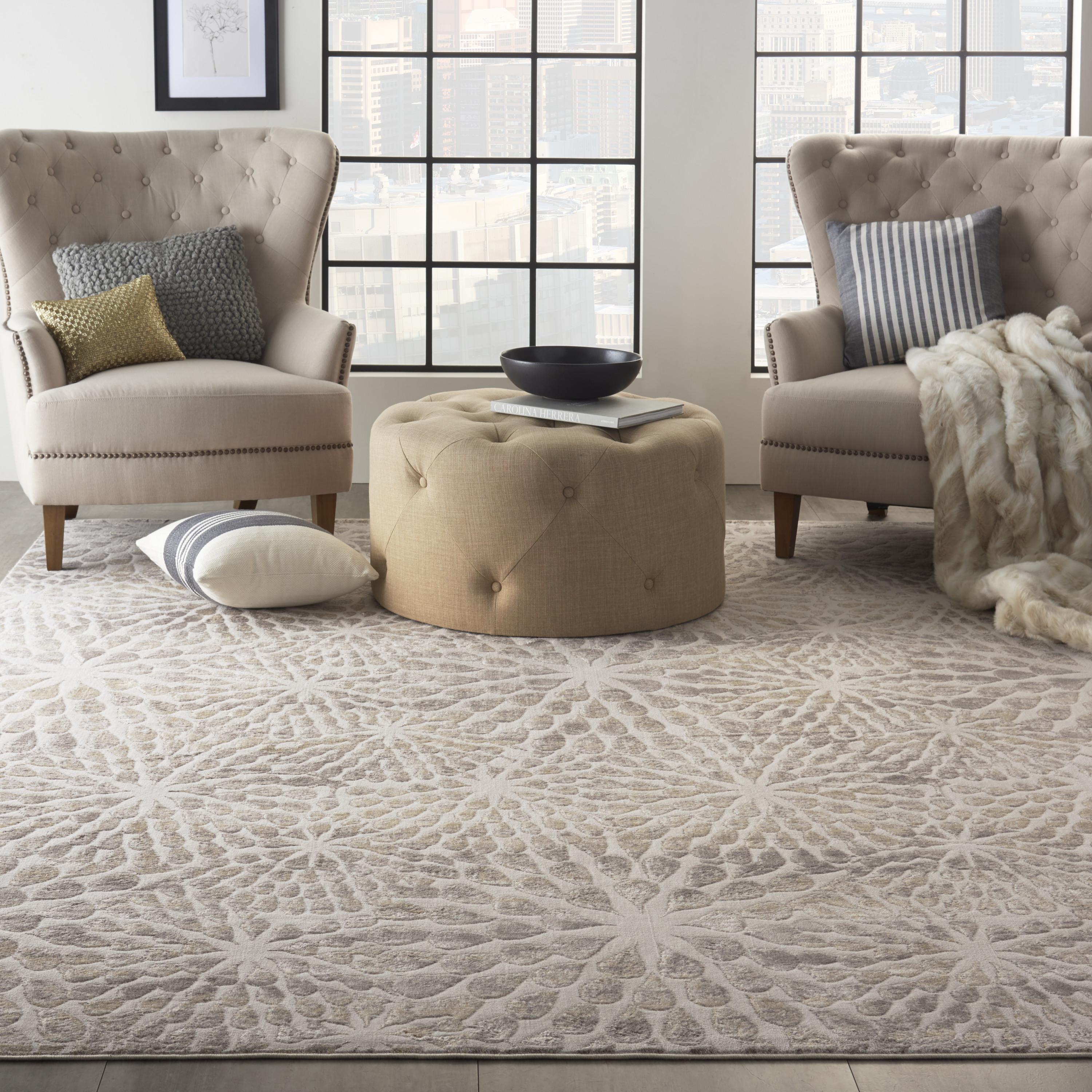 Nourison Silky Textures SLY07 Ivory Beige Rug