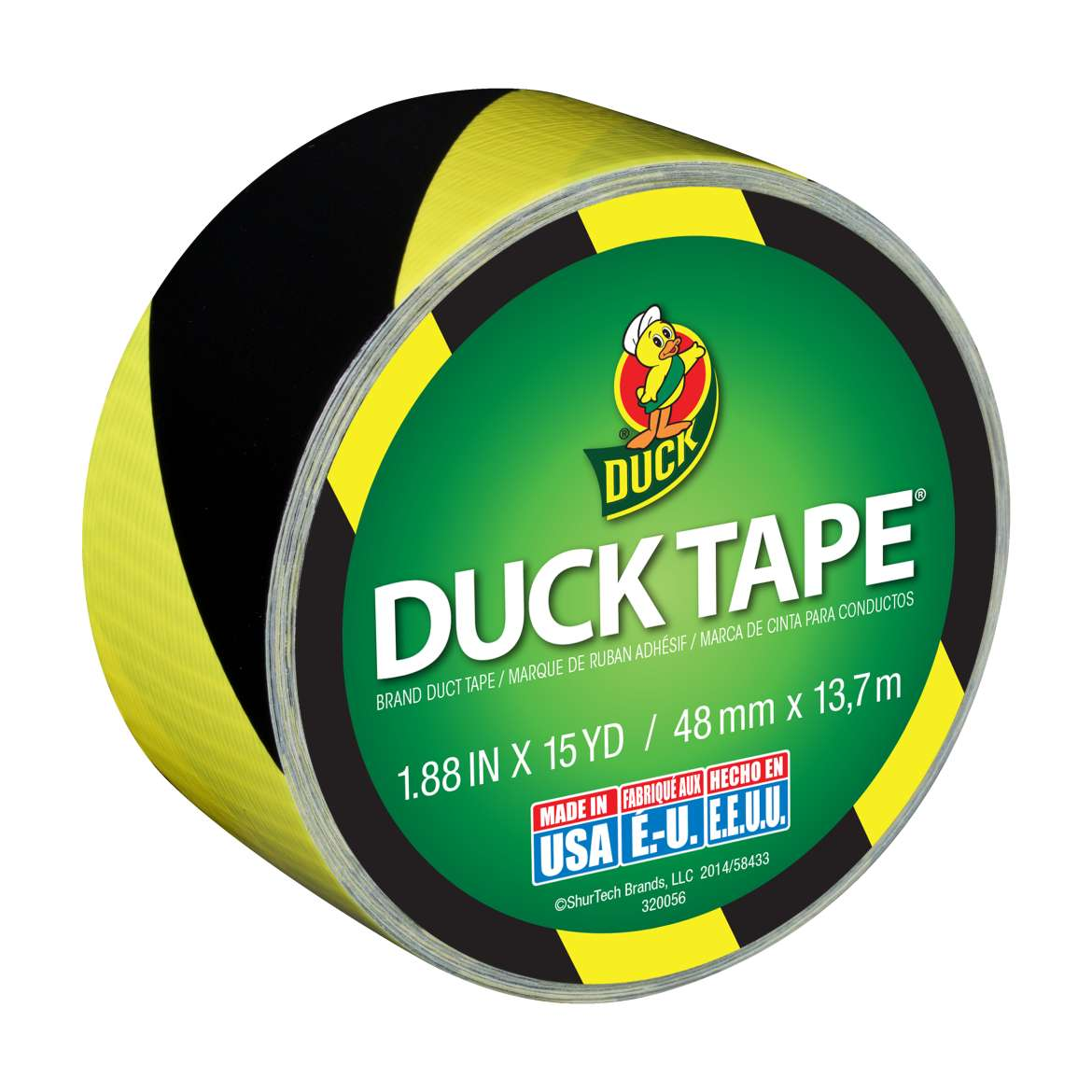 Printed Duck Tape® Brand Duct Tape - Black & Yellow Stripes, 1.88 in. x 15 yd. Image