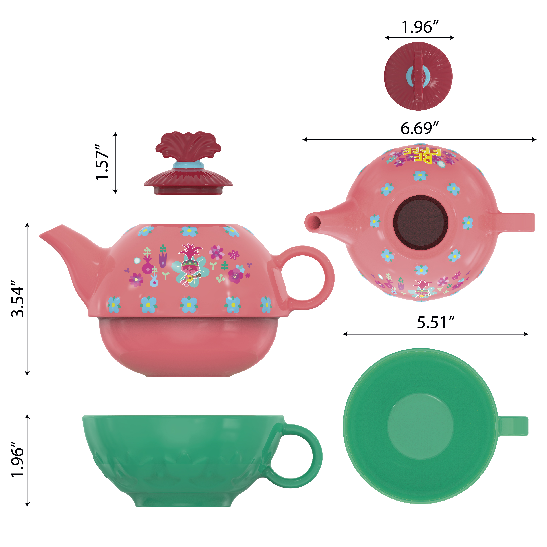 Trolls 2 Movie Sculpted Ceramic Tea Set, Be Free!, 4-piece set slideshow image 8