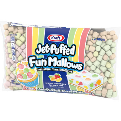 Kraft Jet- Puffed FunMallows Colored Miniature Marshmallows 10 oz Wrapper