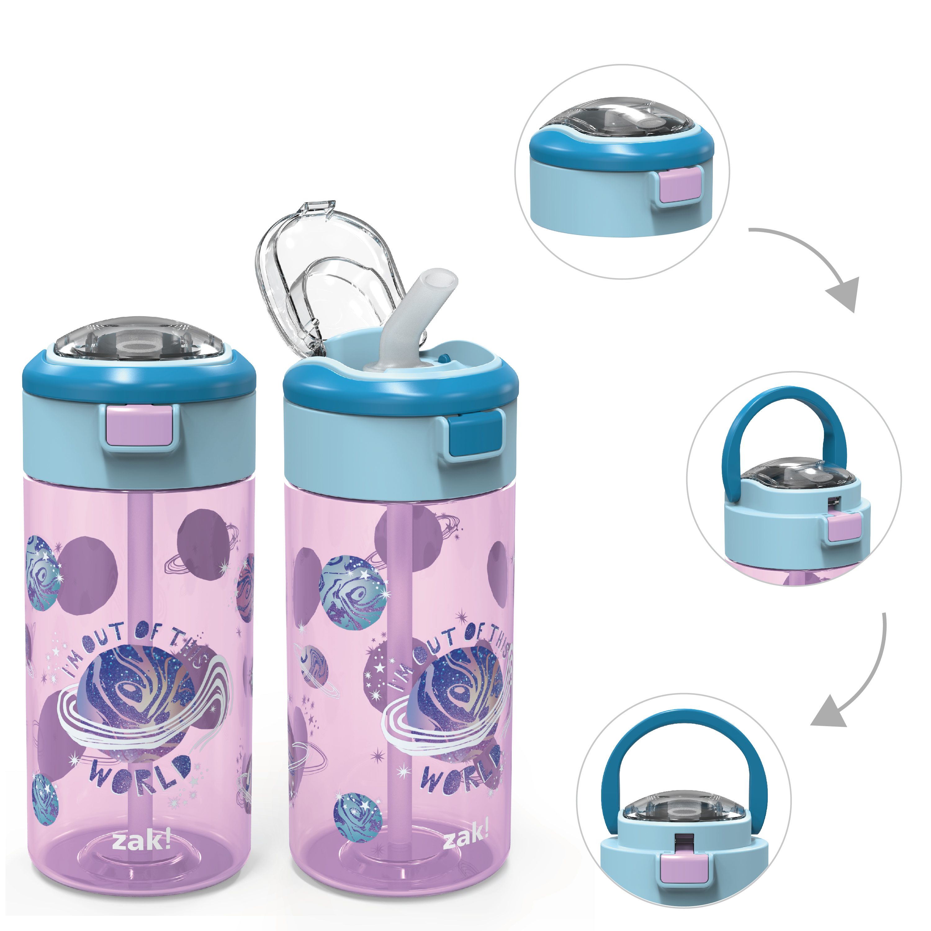 Genesis 18 ounce Water Bottles, Planet, 2-piece set slideshow image 2