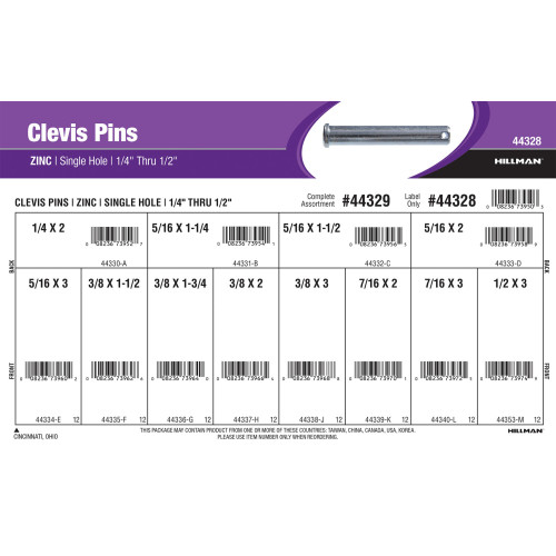 Zinc-plated Single-Hole Clevis Pins Assortment (1/4