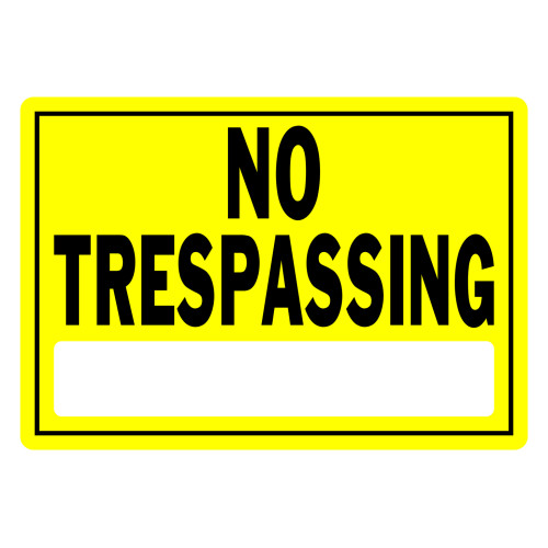 No Trespassing Sign Yellow and Black (10
