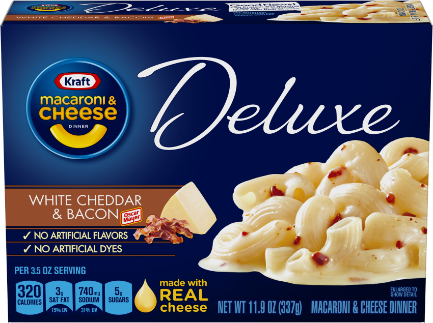 Kraft Deluxe White Cheddar Bacon Macaroni & Cheese Dinner 11.9 oz Box image