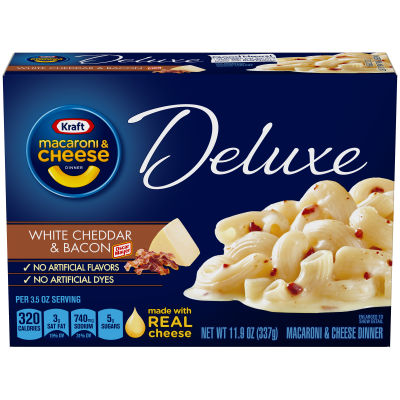Kraft Deluxe White Cheddar & Bacon Macaroni & Cheese Dinner, 11.9 oz Box