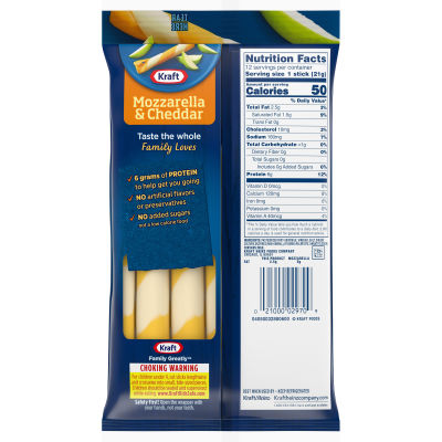 Kraft Twists 2% Mozzarella & Cheddar Natural Cheese 12 count