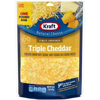 Kraft Triple Cheddar Finely Shredded Natural Cheese 16 oz Bag